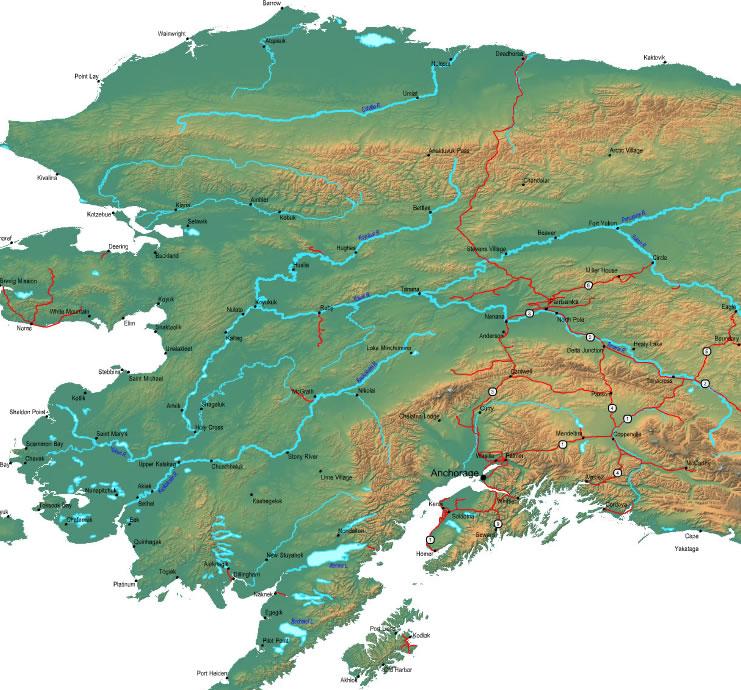 Printable Map of Alaska Mainland, United States
