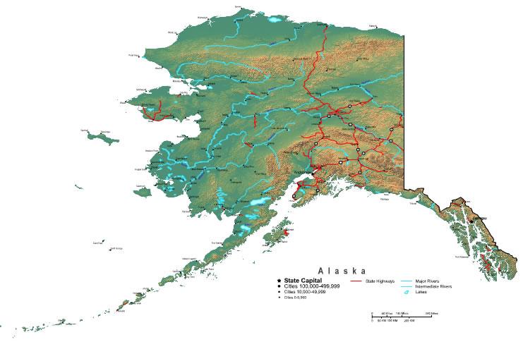 Printable Map of Alaska State, United States