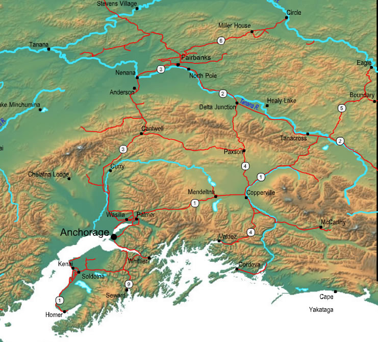 Printable Map of Central Alaska, United States