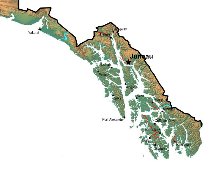 Printable Map of Southern Alaska, United States