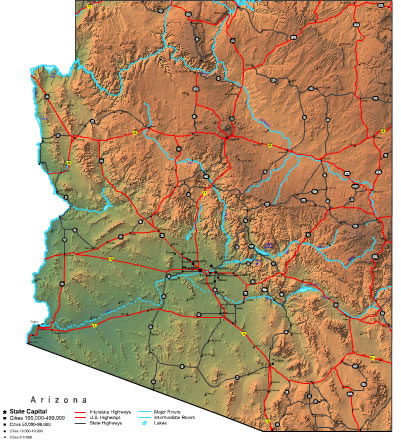 Printable Map of Arizona