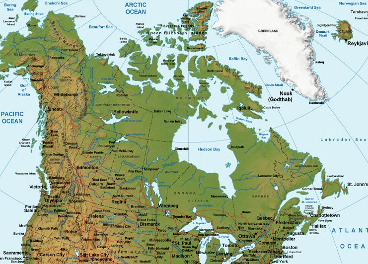 printable map of canada terrain