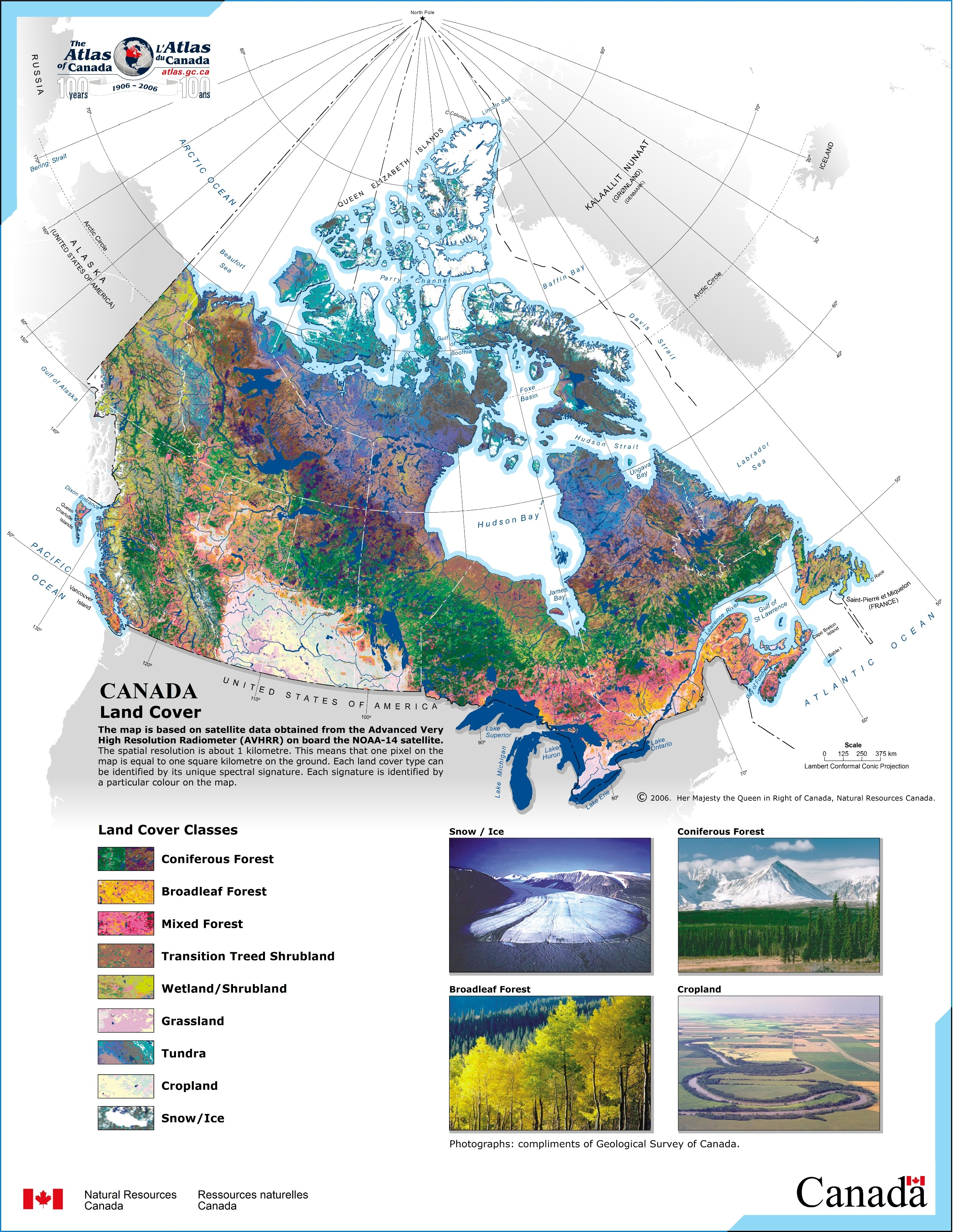 Printable Map of Canada Land Cover