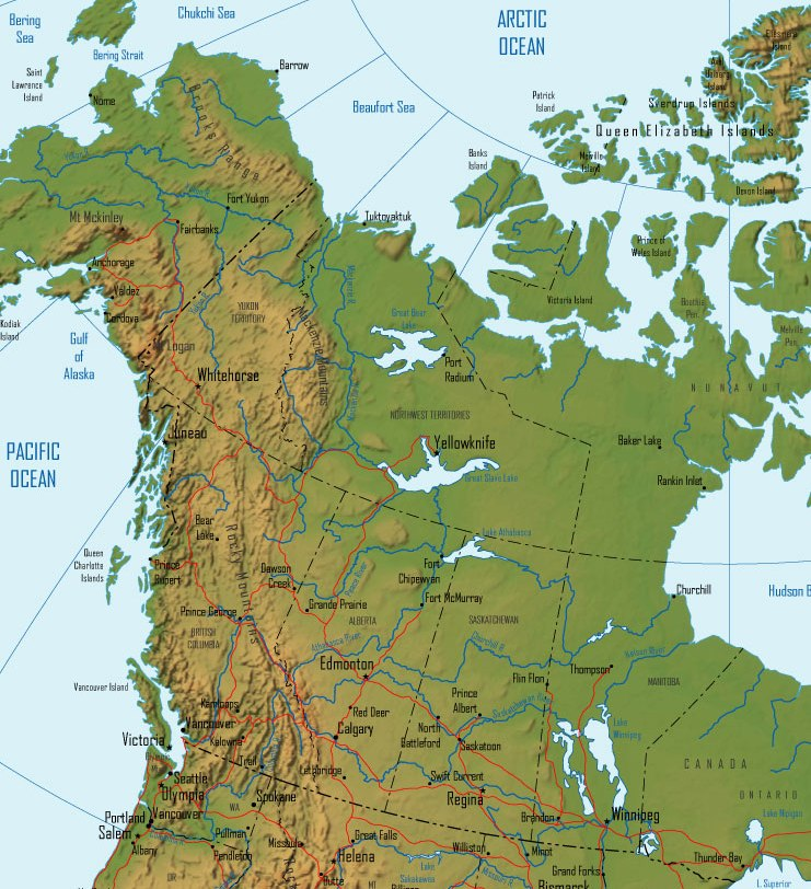 Printable Map of Western Canada Terrain