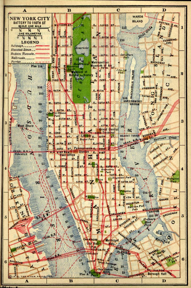 Printable Map of Manhattan 1916, Historical, New York