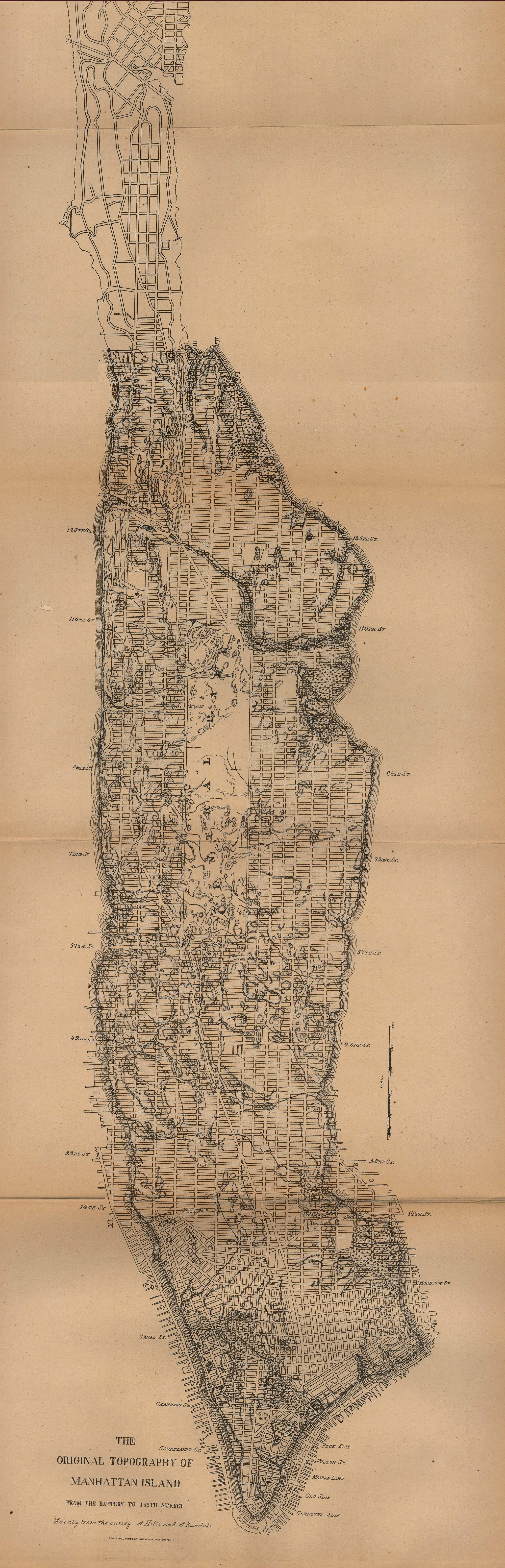 Printable Map of Manhattan Topo 1880, Historical, New York