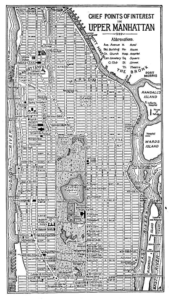 Printable Map of Manhattan Upper 1920, Historical, New York