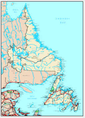 Detailed Map of Newfoundland