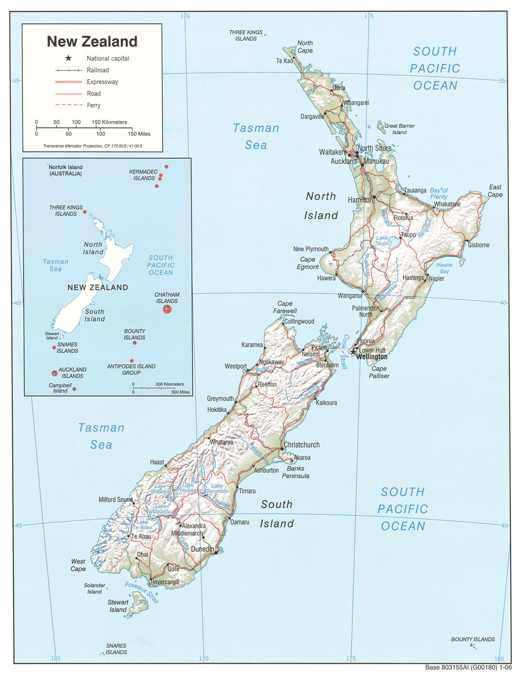 Printable Map of New Zealand