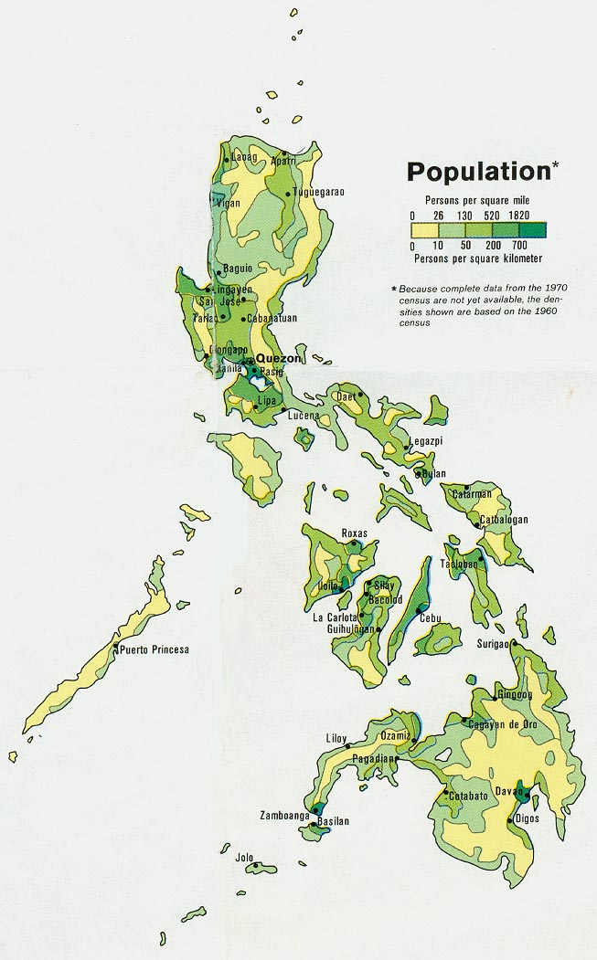 Printable Map of Philippines Population