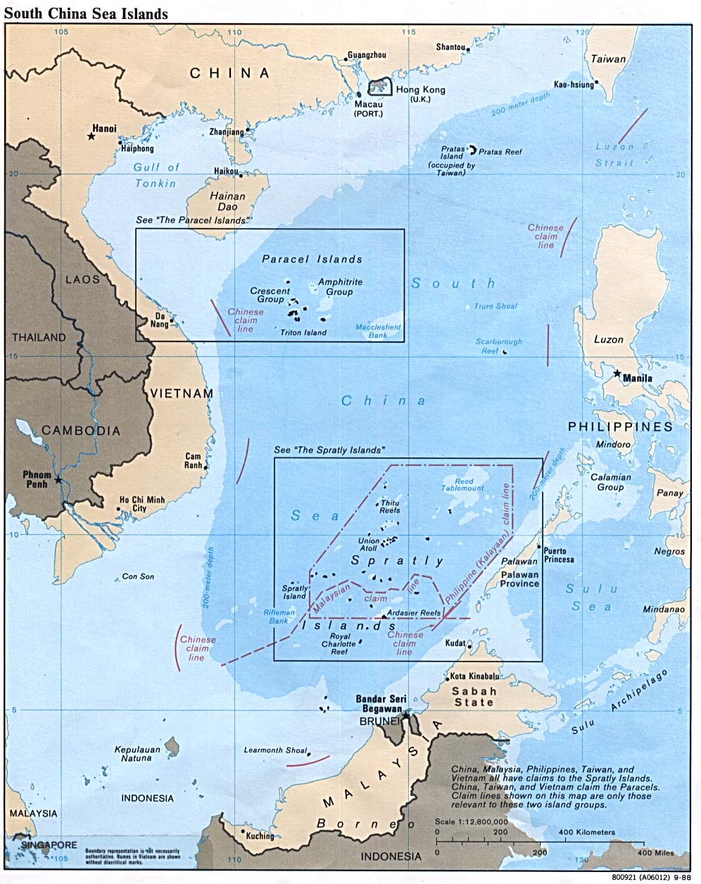 Printable Map of South China Sea, Philippines