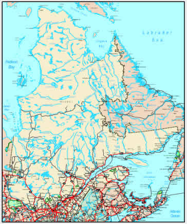 Detailed Map of Quebec