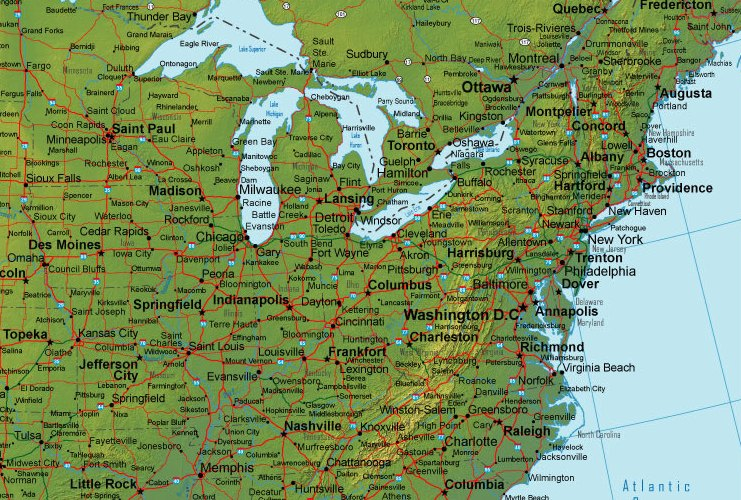 Online Map Of Northeastern USA Terrain Detail - Northeastern usa map