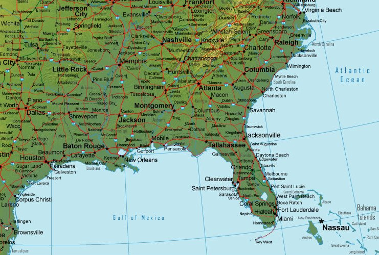 Online Map Of Southeastern USA Terrain Detail - Terrain map of the us