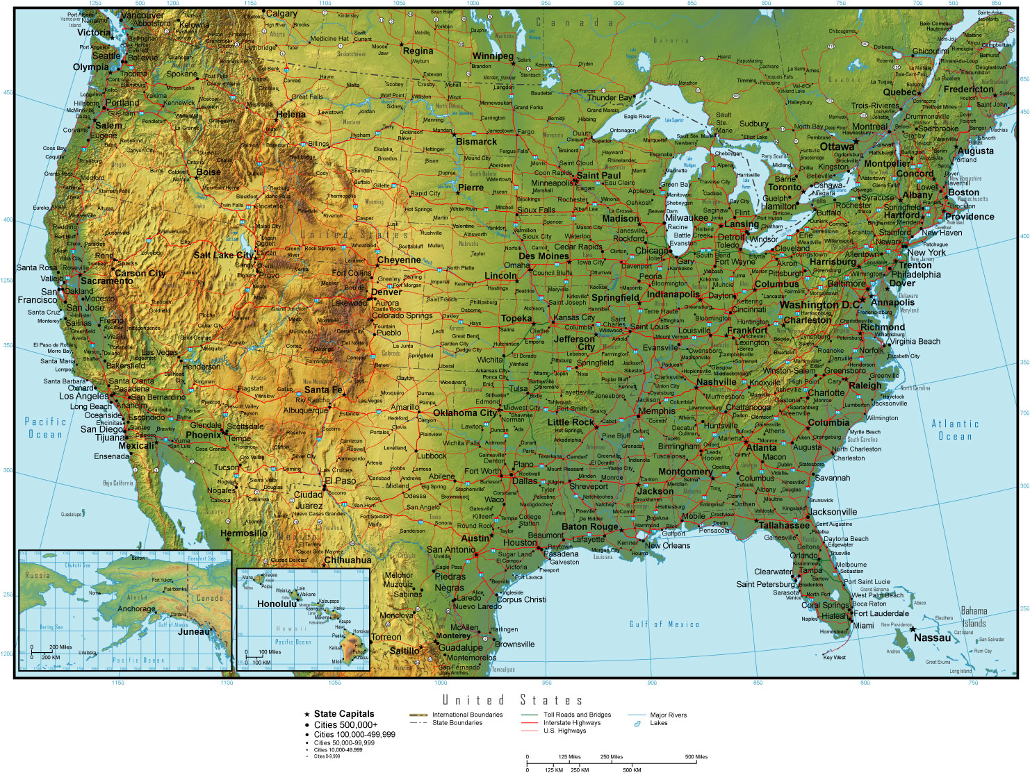 Printable Map of USA Terrain Detail, United States