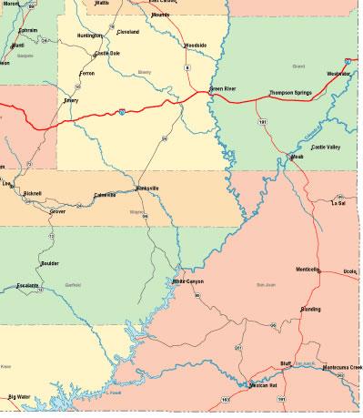 Printable Map of South Eastern Utah