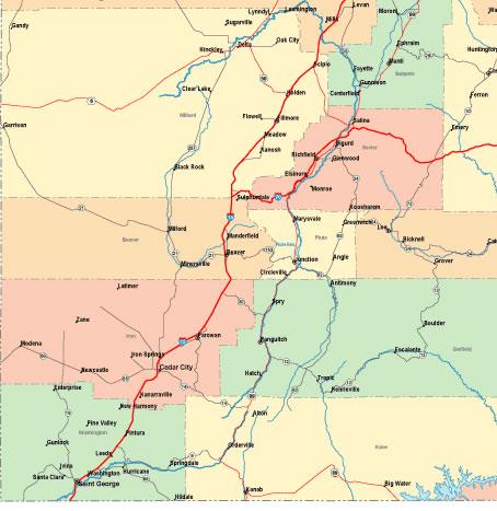 Printable Map of South Western Utah