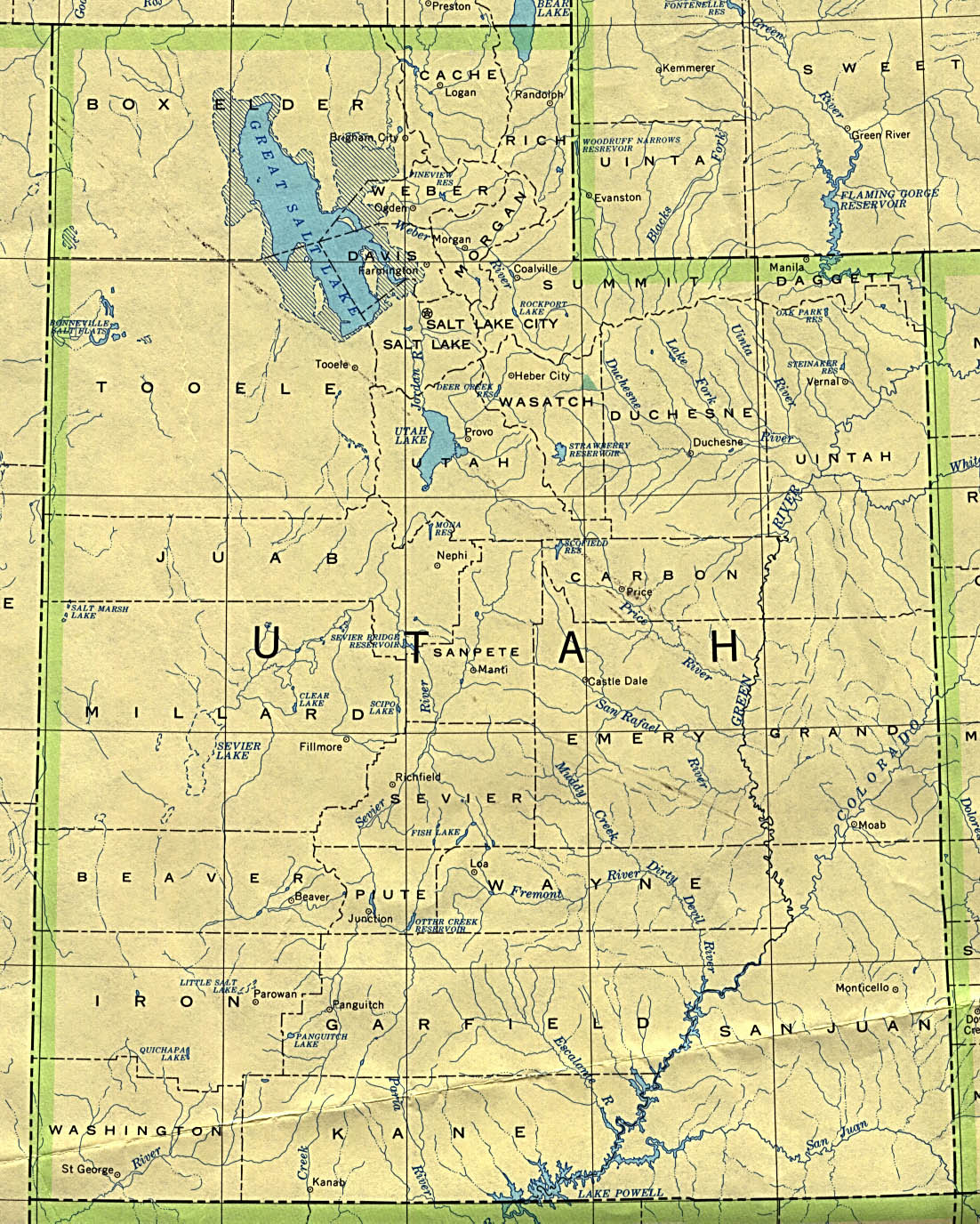 Printable Map of Utah