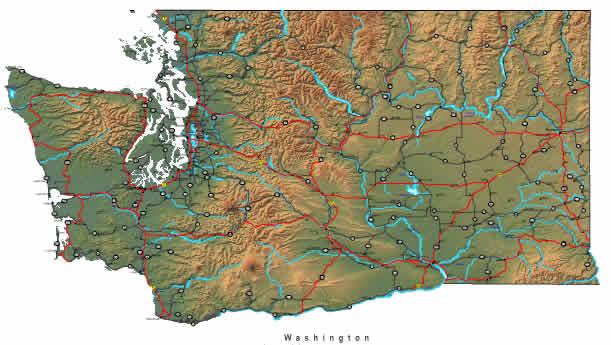 Printable Map of Washington